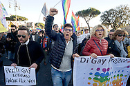 "Roma 12 Dicembre 2015<br /> «La marcia dei diritti», per rompere il silenzio su i diritti di almeno tre milioni di cittadine e cittadini lesbiche, gay, bisessuali, trans, intersessuali, per i diritti delle donne e le unioni etero e omosessuali. Diritti che le leggi dell' Italia continuano a ignorare e a calpestare nonostante le sentenze delle corti italiane e internazionali. Nella foto: Imma Battaglia, una dei leader del movimento LGBT in Italia, Eva Grimaldi, attrice (giacca rossa).<br /> Rome December 12, 2015<br /> ""March of the rights"", to break the silence on the rights of at least three million citizens from lesbian, gay, bisexual, trans, intersex, for the rights of women and heterosexual and homosexual unions.  Rights that the laws of Italy continue to ignore and trample despite the judgments of the Italian  and international courts. Pictured: Imma Battaglia, one of the leaders of the LGBT movement in Italy, Eva Grimaldi, actress (red jacket)."