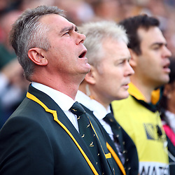 BRIGHTON, ENGLAND - SEPTEMBER 19: Heyneke Meyer (Head Coach) of South Africa during the Rugby World Cup 2015 Pool B match between South Africa and Japan at Brighton Community Centre on September 19, 2015 in Brighton, England. (Photo by Steve Haag/Gallo Images)