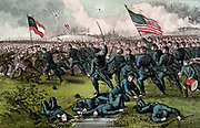 American Civil War 1861-1865:  Second Battle of Corinth, Mississippi, 3-4 October 1862. Confrontation of Union and Confederate infantry, bayonets drawn. Union victory. Drummer-boy, right, casualties, foreground. Currier & Ives.