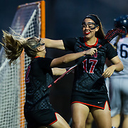 23 March 2018: San Diego State midfielder Harlowe Steele is congratulated by teammate Julia Sheehan after scoring a goal in the first half. The Aztecs beat the Lady Flames 11-10 Friday night. <br /> More game action at sdsuaztecphotos.com