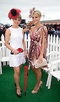 Finalist in the best dressed were Caoimhe Ryan from Limerick and Claire Mulcahy from Galway at Ladies day of the Galway Races in Ballybrit. Photo:Andrew Downes