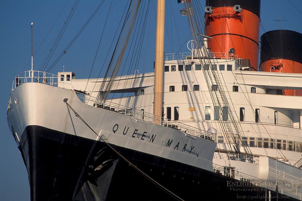Bridge and bow of the luxury passanger liner cruise ship hotel Queen Mary docked at Long Beach Harbor, California