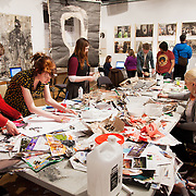 War on War room at the Herbert Museum, Coventry. The workshop is run by kennardphillipps, Cat Phillipps and Peter Kennard. The workshop is a part of the show at the gallery called Caught in the Crossfire, a group show of artist's responses to war.
