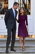 King Felipe VI of Spain, Queen Letizia of Spain attended an official lunch at Palacio de la Zarzuela on November 6, 2017 in Madrid, Spain.