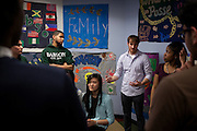 Trainer Patrick Bourke, center, talks with students from the Babsou Posse 11, during small group activities at the Posse Foundation in New York, NY on April 01, 2014.Students in the Posse Foundation are chosen as scholars and go through college prep together as seniors in high school then attend the same college campus together where they get ongoing support. The Posse Foundation has identified, recruited and trained 5,544 public high school students with extraordinary academic and leadership potential to become Posse Scholars over the past 25 years.