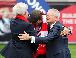 Bristol City's majority shareholder, Steve Lansdown celebrates with Chairman Keith Dawe and Vice Chairman and Son Jon Lansdown  - Photo mandatory by-line: Joe Meredith/JMP - Mobile: 07966 386802 - 03/05/2015 - SPORT - Football - Bristol - Ashton Gate - Bristol City v Walsall - Sky Bet League One