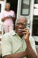 Middle-Aged Man Keeping in Touch During RV Trip