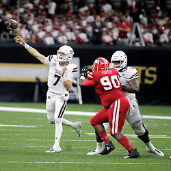 Aug 31, 2019; New Orleans, LA, USA; Mississippi State Bulldogs quarterback Tommy Stevens (7) throws against the Louisiana-Lafayette Ragin Cajuns during the second half at the Mercedes-Benz Stadium. Mandatory Credit: Derick E. Hingle-USA TODAY Sports