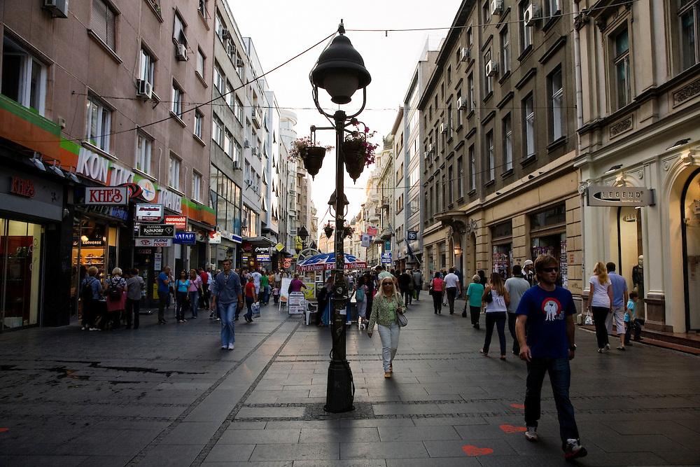 Knez Mihailova walking street in the center of Belgrade.