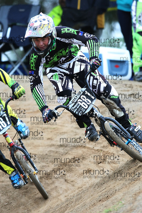 (Canberra, Australia---03 March 2012) Blake Moore of New South Wales competing in stage 5 of the BMX Australia Probikx Junior Men series at the Melba BMX Track in Canberra, Australia. Photograph 2012 Copyright Sean Burges / Mundo Sport Images. For reproduction rights and information in Australia, contact seanburges@yahoo.com. For information elsewhere contact info@mundosportimages.com.