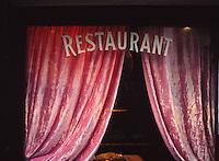 restaurant window, curtains, Paris