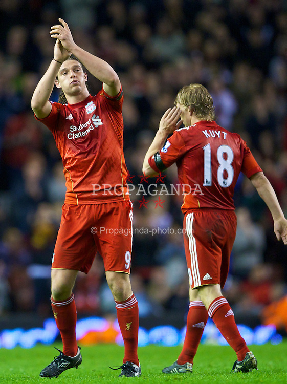 LIVERPOOL, ENGLAND - Monday, April 11, 2011: Liverpool's Andy Carroll applauds his side's supporters as he is replaced during the Premiership match against Manchester City at Anfield. (Photo by David Rawcliffe/Propaganda)