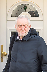 © Licensed to London News Pictures. 26/03/2018. London, UK. Leader of the Labour Party JEREMY CORBYN is seen  leaving his London home. Corbyn has publicly apologised for 'pockets' of anti-Semitism within Labour Party following a row over his apparent support for an anti-Semitic mural. Photo credit: Ben Cawthra/LNP
