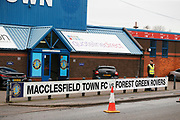 Macclesfield Town v Forest Green Rovers sign outside Moss Rose ahead of the EFL Sky Bet League 2 match between Macclesfield Town and Forest Green Rovers at Moss Rose, Macclesfield, United Kingdom on 25 January 2020.