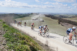 Tayler Wiles (USA) and Eri Yonamine (JPN) approach the top of sector five at Strade Bianche - Elite Women 2019, a 136 km road race starting and finishing in Siena, Italy on March 9, 2019. Photo by Sean Robinson/velofocus.com
