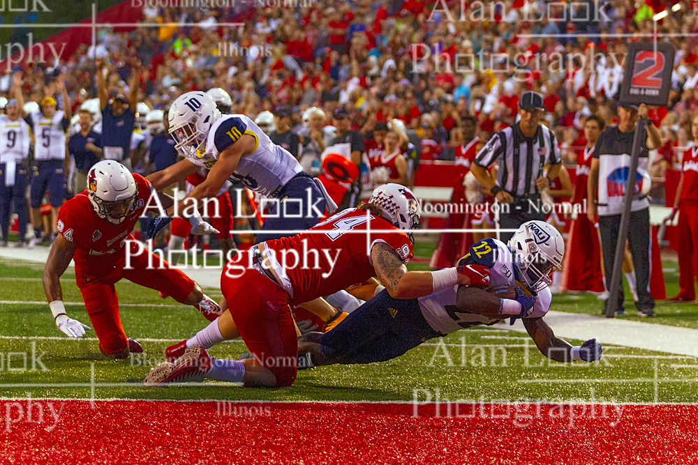 NORMAL, IL - September 21: Joe Logan makes his way to the goal line during a college football game between the ISU (Illinois State University) Redbirds and the Northern Arizona University (NAU) Lumberjacks on September 21 2019 at Hancock Stadium in Normal, IL. (Photo by Alan Look)