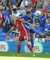 CARDIFFS LEX IMMERS BATTLES WITH BIRMINGHAMS JONATHAN GROUNDS,  Birmingham City v Cardiff City Sky Bet Championship  6th August 2016 <br /> Photo: Mike Capps