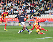 Partick Thistle&rsquo;s, on loan from Dundee United, Robbie Muirhead block's Dundee's Gary Irvine's effort - Partick Thistle v Dundee, Ladbrokes Premiership at Firhill<br /> <br />  - &copy; David Young - www.davidyoungphoto.co.uk - email: davidyoungphoto@gmail.com