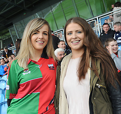 Ballycastle supporters Edel Golden and Marian Haran at the County Junior semi final in McHale Park at the weekend.<br />Pic Conor McKeown