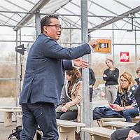 Nederland, Amsterdam, 10 maart 2017.<br />De stand van Illy tijdens de Amsterdam Coffee Festival in de Gashouder op het Westergasfabriek terrein.<br />Op de foto: Kim van Velzen (Illy) tijdens zijn workshop In the spotlight in the LAB.<br /><br /><br /><br />Foto: Jean-Pierre Jans