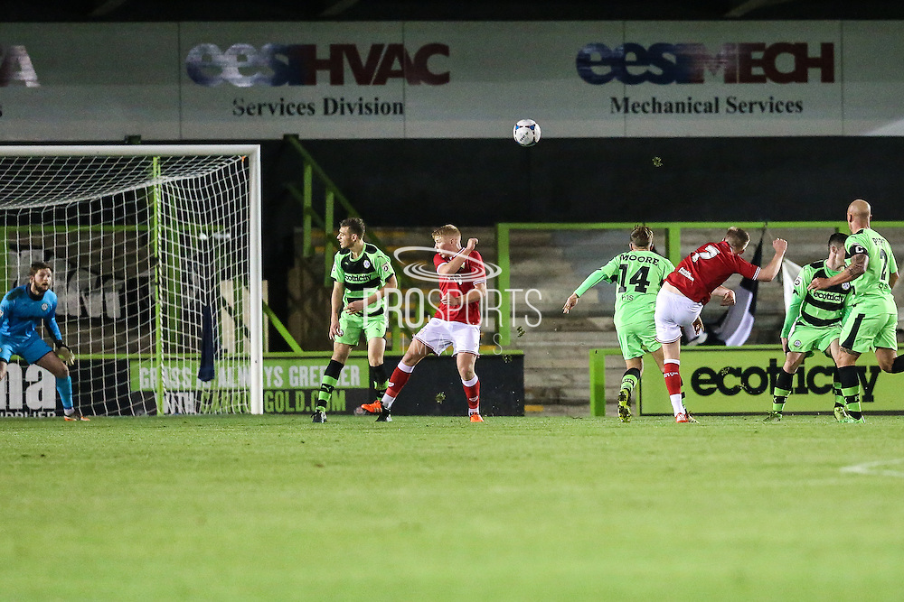Bristol City's Connor Evans ttys a shot from distance during the The County Cup match between Forest Green Rovers and Bristol City at the New Lawn, Forest Green, United Kingdom on 23 November 2015. Photo by Shane Healey.