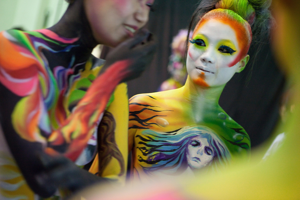 Daegu/South Korea, Republic Korea, KOR, 11.09.2009: At the International Body Painting Festival 2009 in Daegu/South Korea artists from all over the world have the opportunity to show their own specialties in body painting. The festival is one of the largest events in the field of body painting and is visited by a large amount of visitors every year.