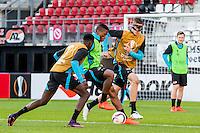 ALKMAAR - 19-10-2016, training persconferentie AZ, AFAS Stadion, AZ speler Derrick Luckassen, AZ speler Fred Friday, AZ speler Wout Weghorst