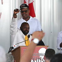 "Inductee and boxer Mark ""Too Sharp"" Johnson gives his induction speech during the 23rd Annual International Boxing Hall of Fame Induction ceremony at the International Boxing Hall of Fame on Sunday, June 10, 2012 in Canastota, NY. (AP Photo/Alex Menendez)"