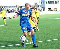 Fotball ,  OBOS-Ligaen<br /> 07.04.19<br /> Nammo Stadion<br /> Raufoss v Sandefjord  0-2<br /> Foto :  Dagfinn Limoseth , Digitalsport<br /> Lars Grorud  , Sandefjord  og Marius Simenstad , Raufoss