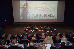 Pictured   <br /> <br /> The Ken Loach film 'I, Daniel Blake' was given a special screening in Edinburgh today in front of  anti-austerity campaigners. The event was arranged by William Black who was joined by the screenwriter, Paul Laverty, Minister for Social Security in Scotland Jeane Freeman, Lewis Akers, member of the Scottish Youth Parliament for Dunfermline, Mikle Valance, ACE and Action Against Poverty, Bill Scott, Inclusion Scotland with Sasha Gallagher afrom Disability History Scotland acting as co-ordinater of the Q&amp;A. <br /> <br /> (c) Ger Harley | Edinburgh Elite media