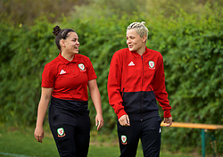 ALHAURÍN EL GRANDE, SPAIN - TUESDAY, MARCH 5, 2019: Wales' Tamsyn Sibanda (L) and Grace Horrell during a pre-match team walk at the at Alhaurin Golf Resort in Spain. (Pic by David Rawcliffe/Propaganda)