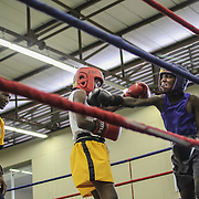 Young fighters compete during an amateur boxing tournament in Cosmo City.