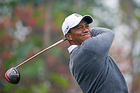 Tiger Woods of USA, hits a shot during the Duel at Jinsha Lake at the Golf Villa Jinsha Lake with Rory McIlroy of Northern Ireland on October 29, 2012 in Zhengzhou, China.  McIlroy beat Woods by a single stroke shooting a 67 to Wood's 68. Photograph by David Paul Morris