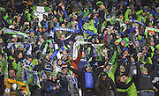 Seattle Sounders fans celebrate after their team's MLS Cup win. (Johnny Andrews / The Seattle Times)