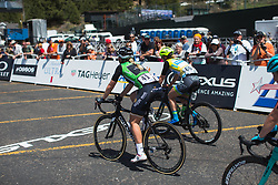 Green jersey wearer Annette Edmondson (AUS) crosses the finish line on Stage 2 of the Amgen Tour of California - a 108 km road race, starting and finishing in South Lake Tahoe on May 18, 2018, in California, United States. (Photo by Balint Hamvas/Velofocus.com)