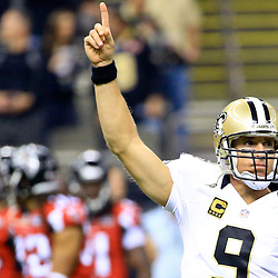 Oct 15, 2015; New Orleans, LA, USA; New Orleans Saints quarterback Drew Brees (9) leads the who dat chant before a game against the Atlanta Falcons at the Mercedes-Benz Superdome. Mandatory Credit: Derick E. Hingle-USA TODAY Sports