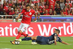 August 19, 2017 - Lisbon, Lisbon, Portugal - Benficas forward Haris Seferovic from Switzerland (L) and CF Os Belenenses defender Vincent Sasso from France (R) during the Premier League 2017/18 match between SL Benfica v CF Belenenses, at Luz Stadium in Lisbon on August 19, 2017. (Credit Image: © Dpi/NurPhoto via ZUMA Press)