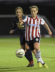 February 20, 2019 - Sheffield, United Kingdom - Sheffield Uniteds Bex Rayner forges ahead of Katie Zelem (manchester United) during the  FA Women's Championship football match between Sheffield United Women and Manchester United Women at the Olympic Legacy Stadium, on February 20th Sheffield, England. (Credit Image: © Action Foto Sport/NurPhoto via ZUMA Press)