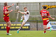 Bradford Bulls stand off Joe Keyes (7) kicks long during the Kingstone Press Championship match between Dewsbury Rams and Bradford Bulls at the Tetley's Stadium, Dewsbury, United Kingdom on 10 September 2017. Photo by Simon Davies.
