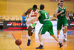 Kannon Butler Burrage of Grosuplje vs Paolo Marinelli of Union Olimpija during basketball match between KK Grosuplje and KK Union Olimpija Ljubljana in 2nd Leg of Quarterfinals of Telemach League 2013/14, on May 6, 2014 in Grosuplje, Slovenia. Photo by Vid Ponikvar / Sportida