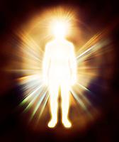 Glowing human energy body Qi energy emanations. Man as luminous being, aura, spiritual concept