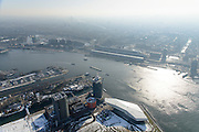 Nederland, Noord-Holland, Amsterdam, 28-10-2016; winters stadsgezicht, overzicht IJ en IJ-oever met Overhoeks in de voorgrond. Foto richting Centraal station en binnenstad in tegenlicht.<br /> Winter cityscape, overview IJ and IJ bank with Overhoeks in the foreground. Photo towards Central Station and with backlighting.<br /> luchtfoto (toeslag op standard tarieven);<br /> aerial photo (additional fee required);<br /> copyright foto/photo Siebe Swart