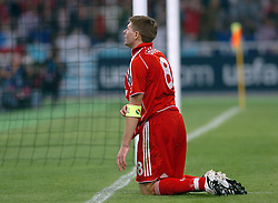 Athens, Greece - Wednesday, May 23, 2007: Liverpool's Steven Gerrard looks dejected after missing a chance against AC Milan during the UEFA Champions League Final at the OACA Spyro Louis Olympic Stadium. (Pic by Jason Roberts/Propaganda)
