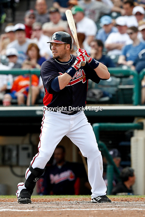 March 5, 2011; Lake Buena Vista, FL, USA; Atlanta Braves left fielder Eric Hinske (20) during a spring training exhibition game against the New York Mets at Disney Wide World of Sports complex.  Mandatory Credit: Derick E. Hingle