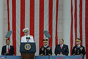 ARLINGTON, VA - May 25: Chairman of the Joint Chiefs of Staff, Adm. Mike G. Mullen makes welcoming remarks during the National Memorial Day Observance program in Arlington National Cemetery held on the last Monday in May.  Photo by Johnny Bivera