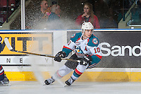 KELOWNA, CANADA - MARCH 4: Nick Merkley #10 of the Kelowna Rockets stops on the ice against the Tri-City Americans on March 4, 2017 at Prospera Place in Kelowna, British Columbia, Canada.  (Photo by Marissa Baecker/Shoot the Breeze)  *** Local Caption ***