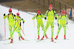 Teja Gregorin, Andreja Mali, Janez Maric, Jakov Fak and Simon Kocevar during practice session of Slovenian biathlon team before new winter season 2012/13 on November 19, 2012 in Rudno polje, Pokljuka, Slovenia. (Photo By Vid Ponikvar / Sportida)