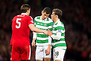 Celtic defender Erik Sviatchenko (#28) confers with Celtic midfielder Nir Bitton (#6) at a corner during the Scottish Cup final match between Aberdeen and Celtic at Hampden Park, Glasgow, United Kingdom on 27 November 2016. Photo by Craig Doyle.