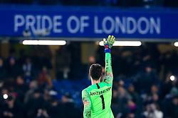 Kepa Arrizabalaga of Chelsea celebrates victory over Tottenham Hotspur to reach the Carabao Cup Final after his save in the penalty shootout helps his side win - Mandatory by-line: Robbie Stephenson/JMP - 24/01/2019 - FOOTBALL - Stamford Bridge - London, England - Chelsea v Tottenham Hotspur - Carabao Cup