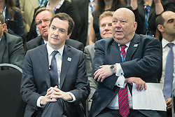 © Licensed to London News Pictures . 13/06/2016 . Liverpool , UK . Chancellor of the Exchequer , GEORGE OSBORNE and Mayor of Liverpool JOE ANDERSON at the International Festival for Business at the Liverpool Exhibition Centre . Photo credit: Joel Goodman/LNP